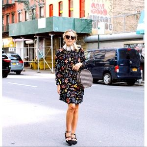 H&M Blue Floral Pleated Tunic Dress